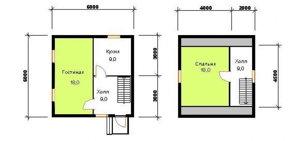 Проект каркасного дома 6*6